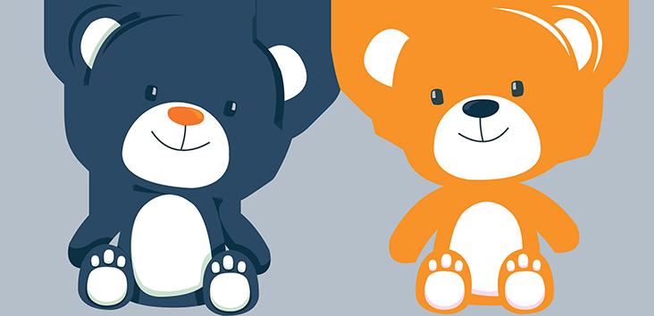 Blue and Orange Teddy Bears Ilustration