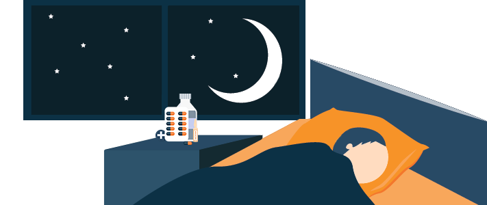 Boy Sleeping Peacefully Thanks to Melatonin Illustration