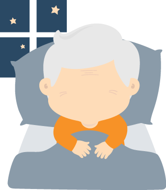 Elderly Man Lying On the Bed Illustration
