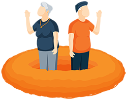 Illustration of an Older Couple Standing in an Empty Birds Nest Waving Goodbye