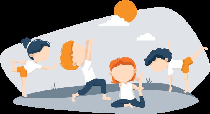 Kids Exercising Before Bed Illustration