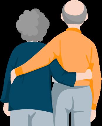 Older Couple Back View Illustration