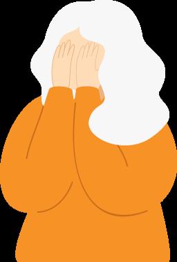 Sad Older Woman Illustration