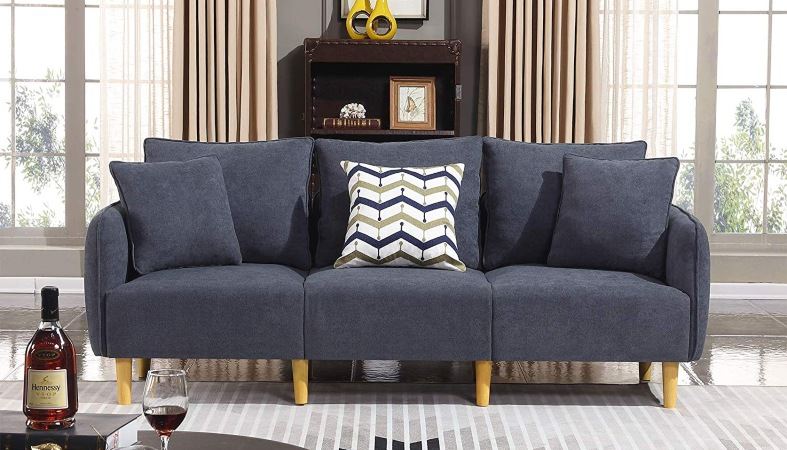 dark blue couch in a living room