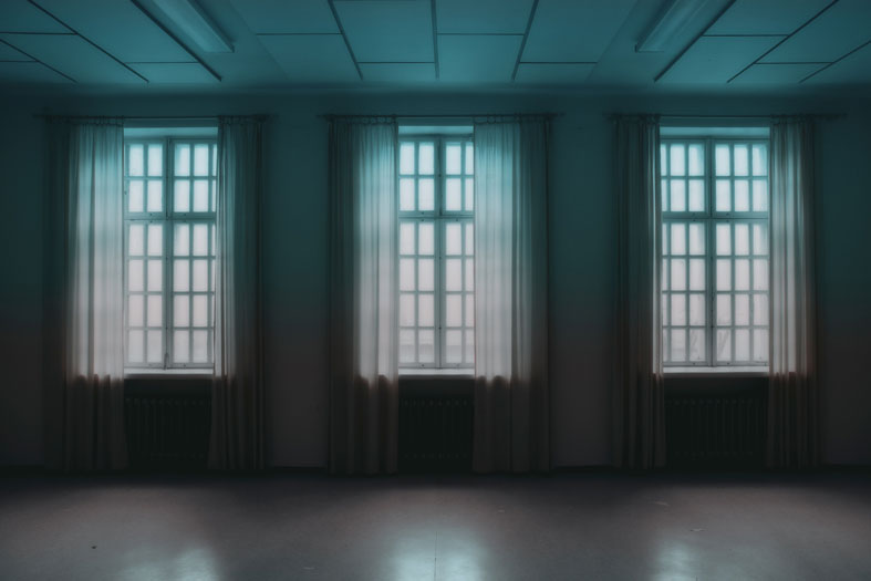 empty room with three windows