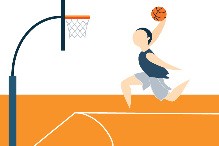 A Basketball Player Shooting a Basketball Toward a Hoop Illustration