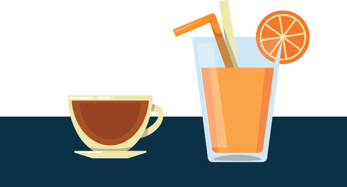 A Cup of Coffee Next to a Glass of Orange Juice Illustration