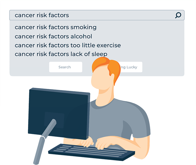 A Man Looking Up Cancer Risk Factors On Computer Illustration