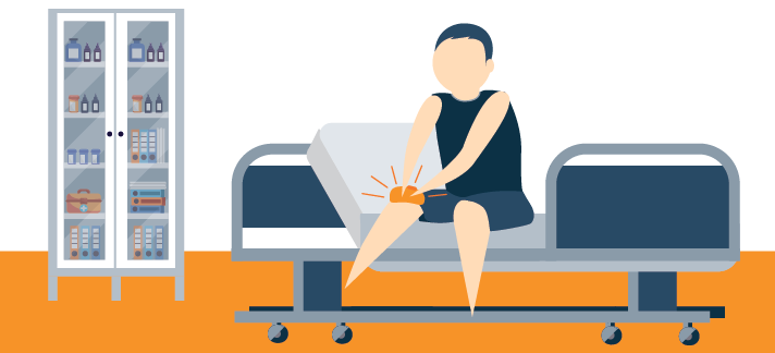 An Athlete Sitting on an Examination Table in a Doctors Office Illustration