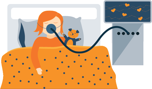 Illustration of A Girl Using CPAP Device While Sleeping