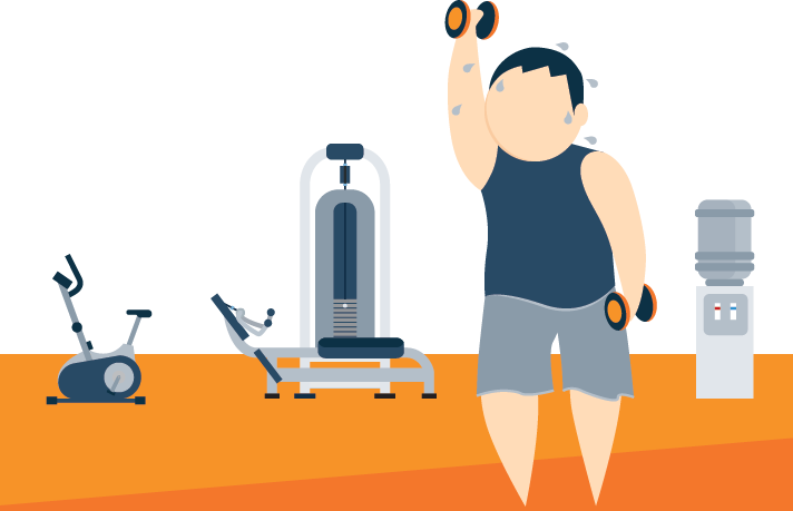 Illustration of An Athlete Lifting Dumbbells in a Gym
