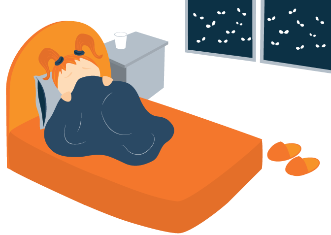 Illustration of Anxious Child Awake in Bed
