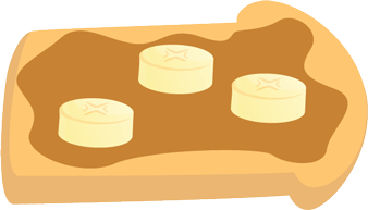 Illustration of a Toasted Bread with Peanut Butter and Sliced Bananas on Top