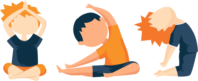 Kids Practicing Yoga Illusrtation