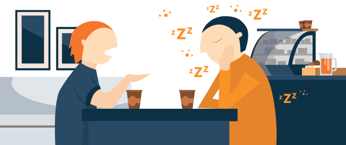 One Man Is Talking Not Aware That The Other One Is Asleep Illustration