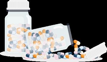 Two Bottles Full Of Pills Illustration