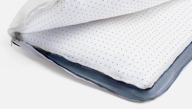product image of the helix cooling pillow showing the layers inside it
