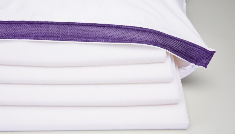 product image of polysleep pillow showing the layers inside