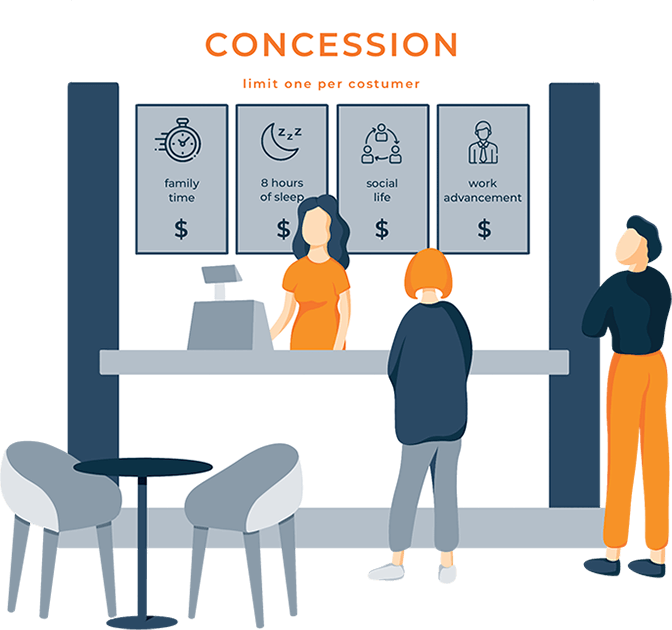 A Man Stands at a Concession Stand Ready to Order Illustration