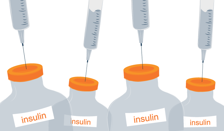 A Syringes Filled with Clear Liquid Poking into the top of an Insuline Vials