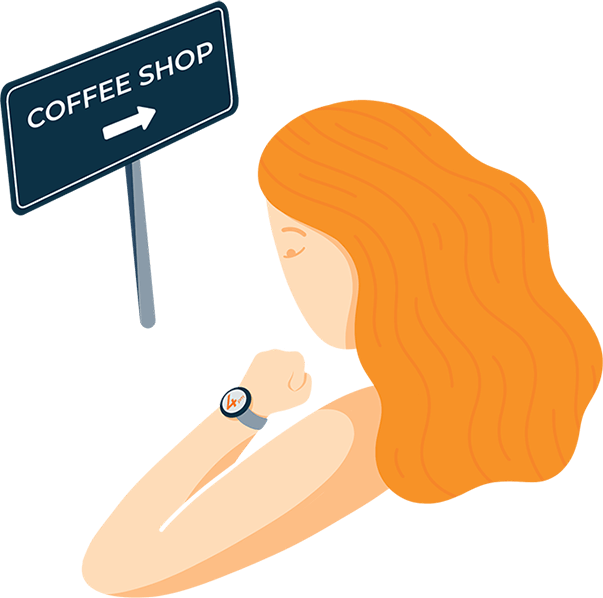 A Woman Looking at Her Watch Illustration