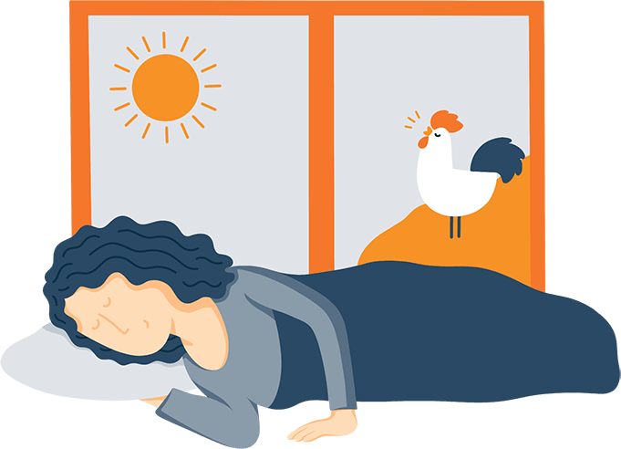A Woman in Bed Sleeping while a Rooster Crows Illustration
