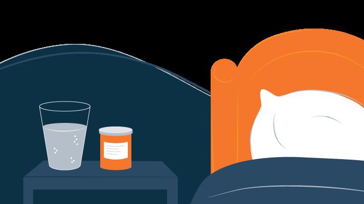 Bottle of Medications On the Bedside Table Illustration