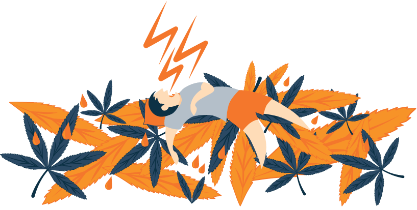 Illustration Of A Man Sleeping on Marijuana Leaves and Snoring