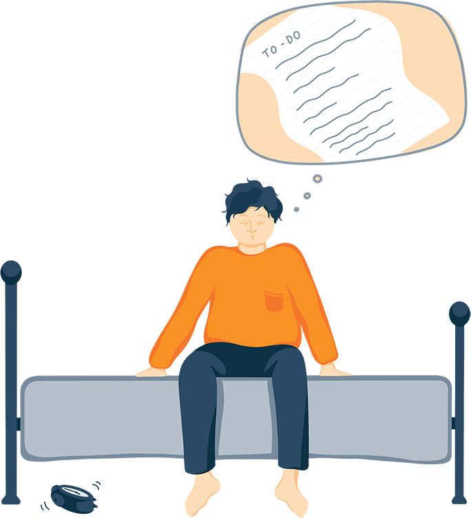 Illustration of A Man Sitting on the Edge of His Bed With a To-Do List Looming Over