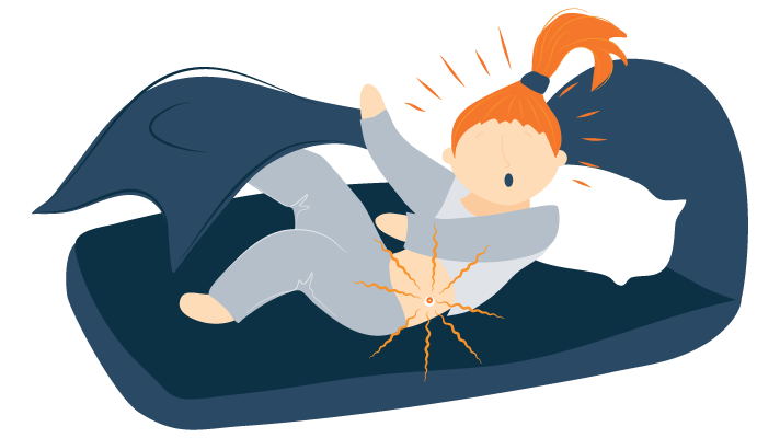 Illustration of A Woman Awoken Suddenly by a Beeping Alarm Attached to Her Hip
