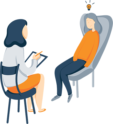 Illustration of A Woman Sitting on a Couch Talking to a Therapist