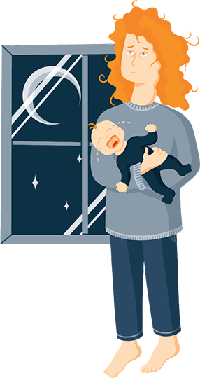 Illustration of Exhausted Mother Holding Her Crying Baby