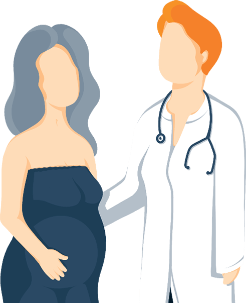 Illustration of Female Doctor Giving Advice to a Pregnant Lady