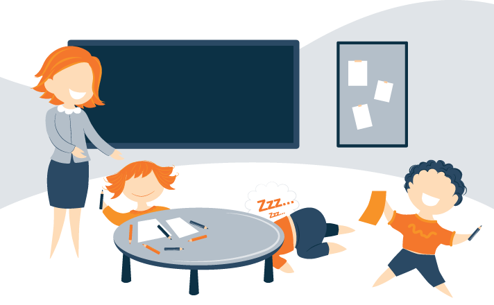 Illustration of Kids Playing While One is Asleep