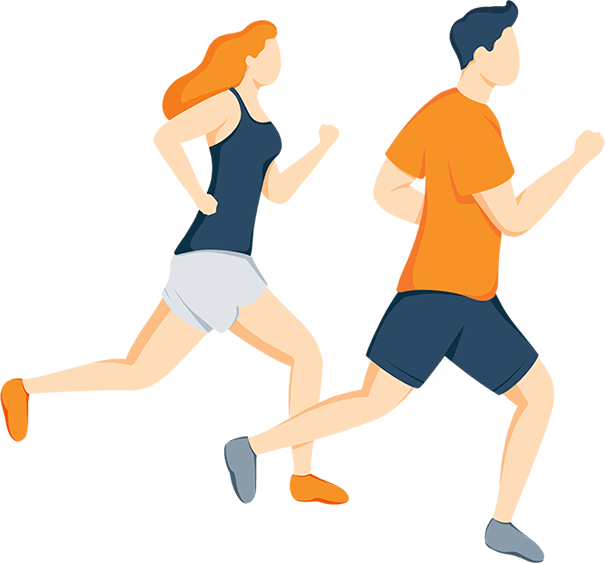 Illustration of a Couple Running