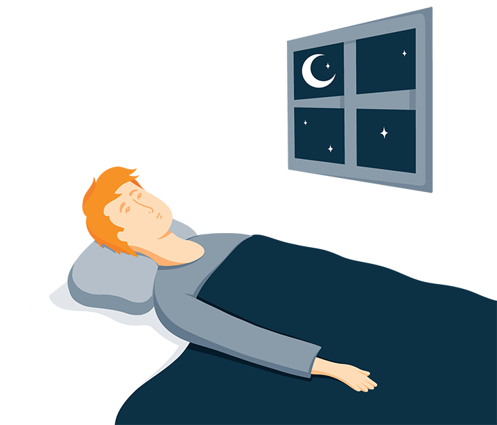 Man Laying in Bed Wide Awake Illustration