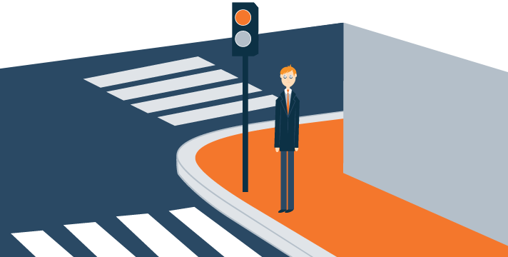 Tired Tiny Man Stands on Crosswalk Illustration