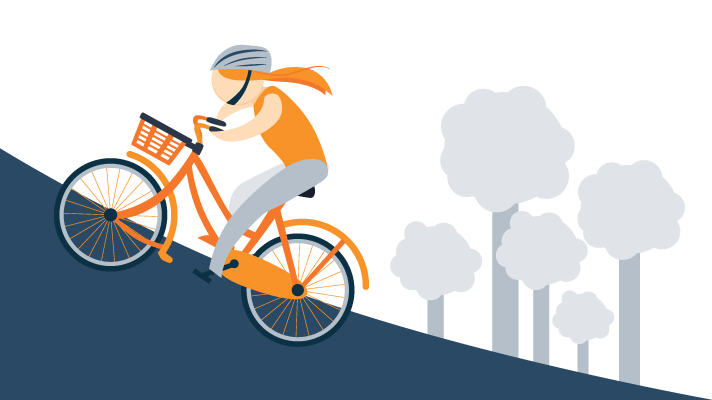 Woman Riding Bike up the Hill Illustration