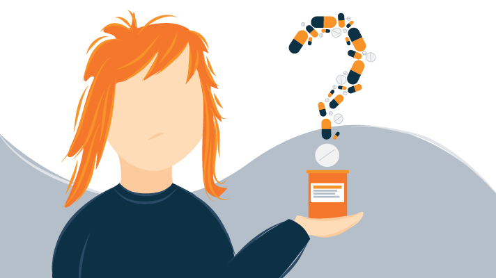 Young Woman Holding a Bottle of Pills Illustration