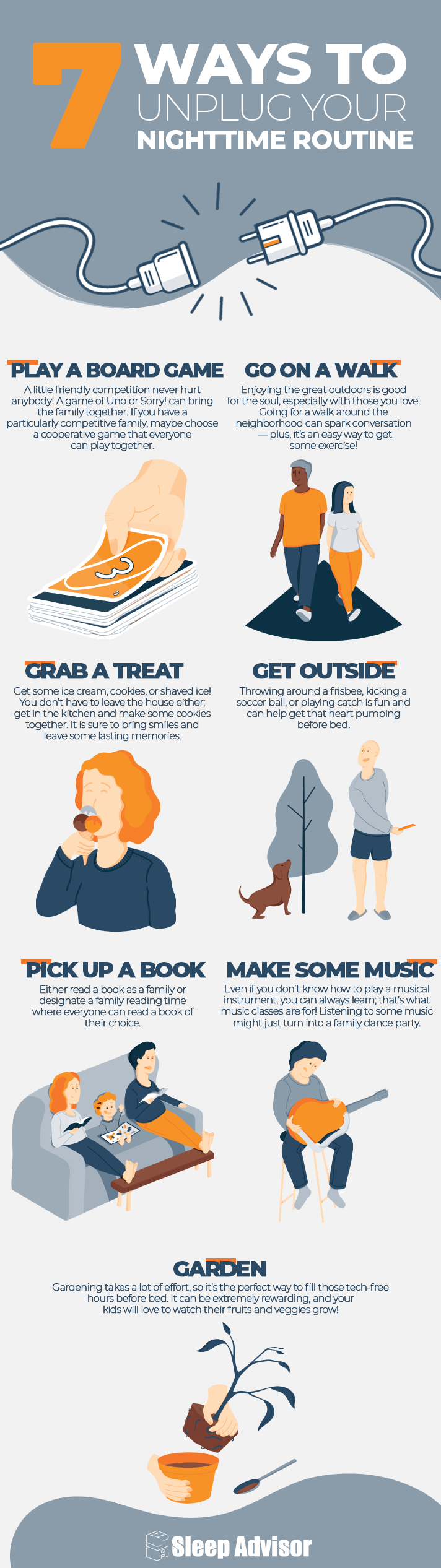 7 Ways To Unplug Your Nighttime Routine Infographic