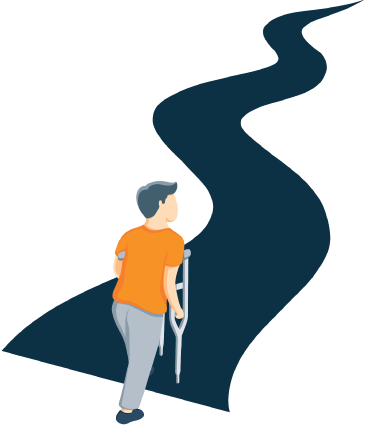 A Man Beginning to Walk Down a Long Road while Using Crutches Illustration