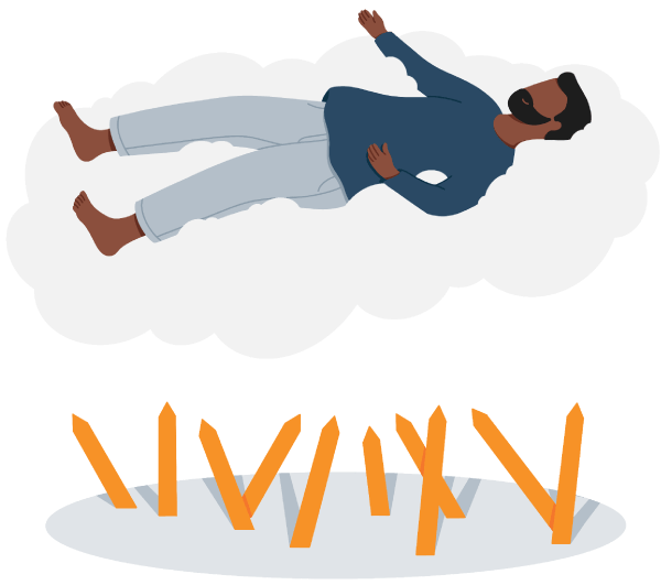 A Man Floating above the Cloud Like in a Dream Illustration