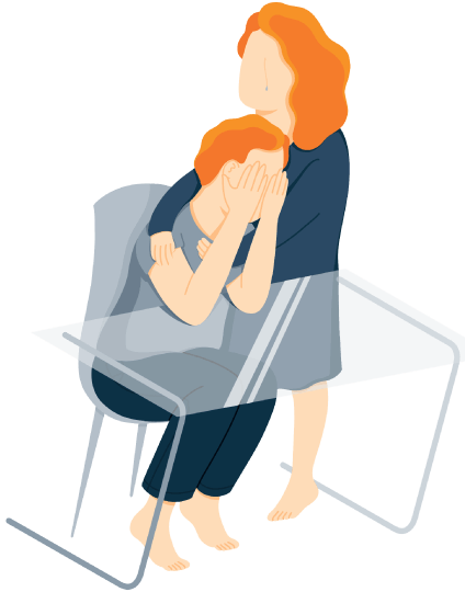 A Man Sits at the Table with His Hands Covering His Face in Shame Illustration