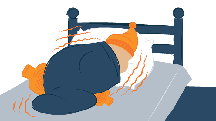 A Person Wrapped In Blankets Freezing Illustration