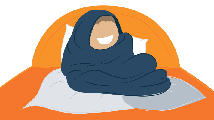 A Smiling Person Wrapped up in Heaps of Blankets Illustration