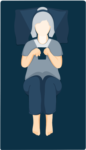 A Woman In a Bed Looking at Her Phone in the Dark Illustration