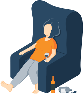 A Woman Sitting on a Chair Surrounded by Empty Bottles Illustration