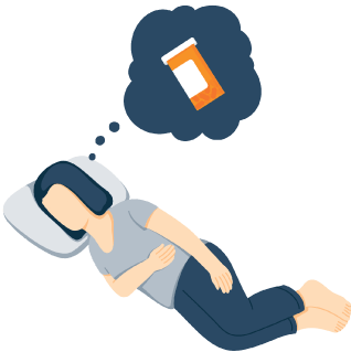 A Woman who is Awake in Bed Thinks of Pill Bottle Illustration