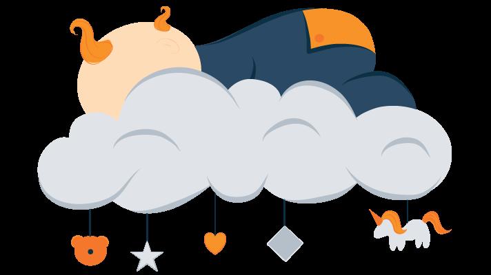 Baby Sleeping Peacefully On A Cloud