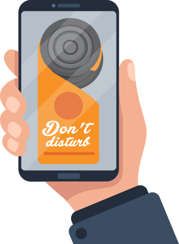 Don't Disturb Sign On Cell Phone Illustration